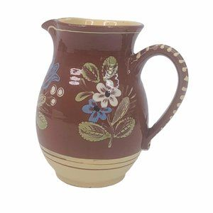 Redware Pitcher Floral Hand Painted Farmhouse